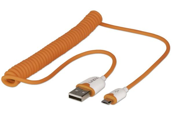 USB Spiralkabel 1,6m, Orange Typ A / Micro-B