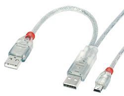 USB2.0-Kabel 2xA/ mini-B,  1m transparent,  Data+Dual Power