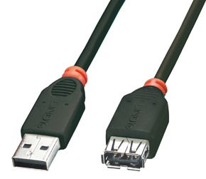 USB 2.0Kabel A M/F schwarz1m Typ A M/F, Full/Low Speed