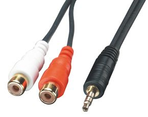 Audiokabel Stereo 3.5mm Male / 2x RCA female, 25cm