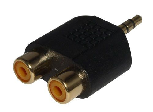 Stereo-Adapter,  2xRCA - 3,5mm Gold Plated