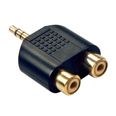 Audio-Adapter,  2x RCA female an 3.5mm male vergoldet