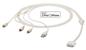 AV Kabel f. iPhone & iPod 1,5m 3 x Composite AV + USB