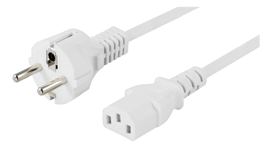 grounded power cable, CEE 7/7 to IEC 60320 C13, 10m, white