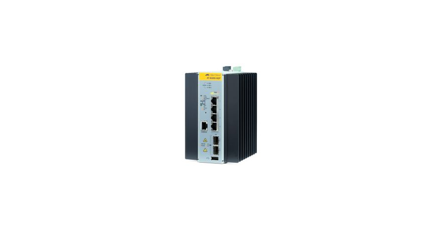 ALLIED TELESYN Managed Industrial switch with 2 x 100/1000 SFP,  4 x 10/100/1000T PoE+, no Wifi (AT-IE200-6GP-80)