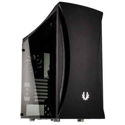 Aurora Midi-Tower - schwarz Tempered Glass Window