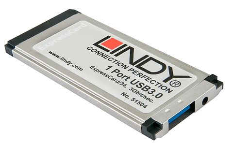 LINDY USB 3.0 ExpressCard,  1 Port 1x Typ A USB 3.0/ 2.0/ 1.1 (51504)