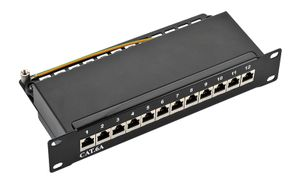 "10"" Cat.6A Patchpanel,  12-port STP, schwarz"