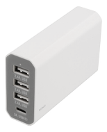 3USB + 1 Type C charger White