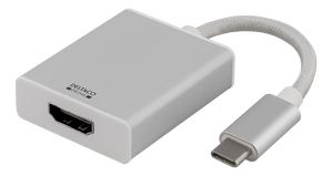DELTACO Adapter USB to HDMI, Silver (USBC-1076)