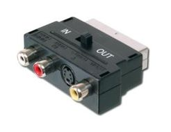 SCART AD. 21PIN-3XRCA/ SVHS PLASTIC HOUSING WITH I/O SWITCH CABL