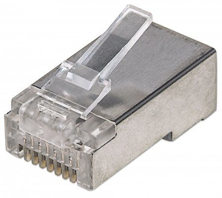 INT Modular Plug, Cat5e, RJ45, Shielded, 50u For Solid Wire