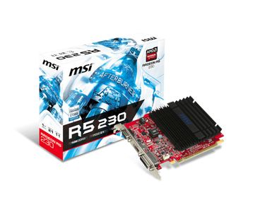 MSI Radeon R5 230 1GB DDR3 Skjermkort,  PCI-Express 2.0, DL-DVI-D, VGA, HDMI, 2x LP Bracket (R5 230 1GD3H LP)
