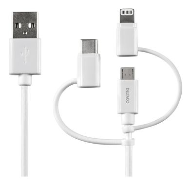 USB C/Micro USB/ Lightning-sync/ -charge cable, MFi, 1m, white
