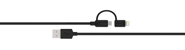 TRIPLINE LIGHTNING + MICROUSB CHARGE AND SYNCH CABLE 2M