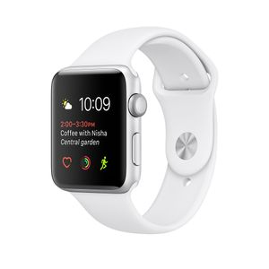 APPLE S1 38MM SILVER ALUMINIUM CASE WHITE SPORT BAND                 IN CONS (MNNG2FS/A)