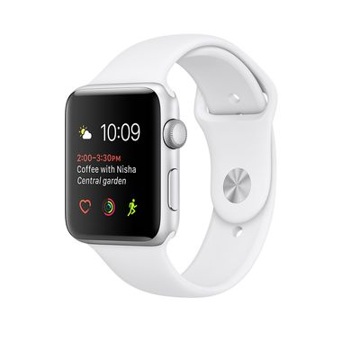 APPLE WATCH 1 38MM SILVER ALU CASE WITH WHITE SPORT BAND       IN CONS
