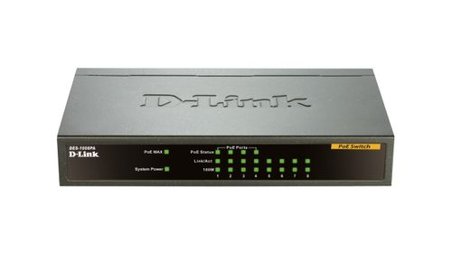 D-LINK 8-PORT LAYER2 POE FAST ETHERNET SWITCH             IN CPNT (DES-1008PA)