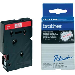 BROTHER TC-tape / 9mm / Rød tekst / Hvid tape (TC292)