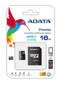 A-DATA 16GB MicroSDHC UHS-I Class10 +SD adapter (AUSDH16GUICL10-RA1)