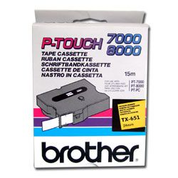 BROTHER TAPE TX-651 24MM BLACK ON YELLOW (TX-651)