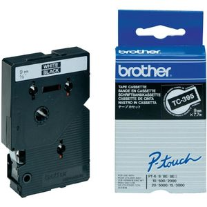 BROTHER P-Touch Tape White On Black 9mm  (TC-395)