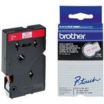 BROTHER P-Touch Tape Red On White 12mm  (TC-202)