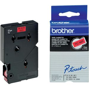 BROTHER TC-tape (Kat. 2), 12mm., sort tekst på rØd tape  (TC-401)