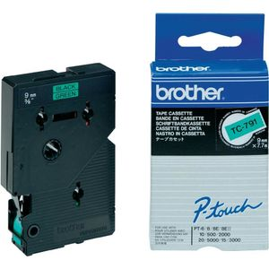 BROTHER TC-tape (Kat. 2), 9 mm., sort tekst på grØn tape  (TC791)