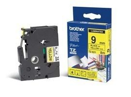 BROTHER TZ-tape (laminerede) (Kat. 2), 9 mm., sort tekst på gul tape  (TZ-621)