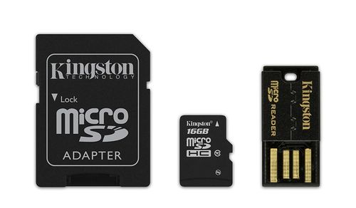 KINGSTON 16GB microSDHC Mobility Kit incl USB + SD Adapter (MBLY10G2/16GB)