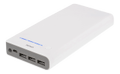 DELTACO Power Bank, 20000mAh, 5V 3A, 3xUSB, torch, white