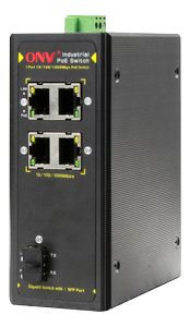 DELTACO Industriell PoE-switch,  4xRJ45, 1xSFP, IP40, 30W, 20km, svart (IPS33054PF)