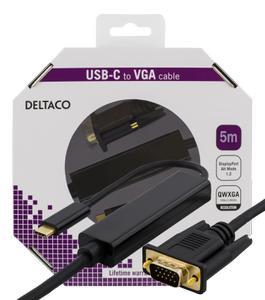DELTACO USB-C - VGA, QWXGA 2048x1152 60Hz, 5m, DP 1.2 Alt Mode, black (USBC-1089-K)