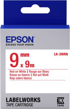 Label/ LK-3WRN Standard 9mm x 9m RD/WH