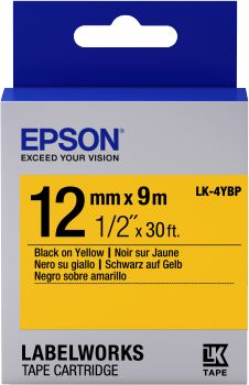 Label/ LK-4YBP Pastel 12mm x 9m BK/YL