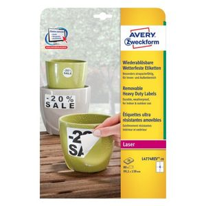 AVERY Heavy Duty Labels White Removeable,  99,1x139 4 labels/ sheet 20 sheets/ pack (L4774REV-20)