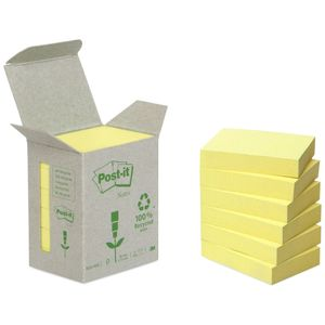 POST-IT Notes 653 Gul 38x51mm 100% genbrug Tårn med 6 blokke (6531B)