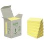 POST-IT Notes Post-it 653 Gul 38x51mm 100% genbrug Tårn med 6 blokke