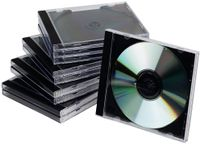 QConnect CD/DVD Jewel Case Single, Sort/klar 10 stk