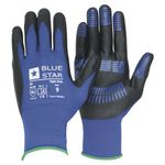 Handske Bluestar Tight Grip m/padding sort/blå str. 10