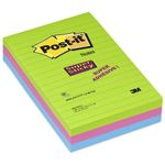Notes Super Sticky Ultra farver 102x152mm Pk/3