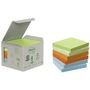 POST-IT Notes Post-it 654 76x76mm 6 farver 100% genbrug Tårn med 6 blokke
