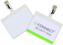 QConnect Kongresmærke 60x90mm  security badge med clips 25 stk