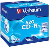 VERBATIM 52x CD-R 80min 700MB 10-pack (Azo) Jewel Case (43327)
