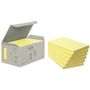 POST-IT Notes Post-it 655 Gul 76x127mm 100% genbrug Tårn med 6 blokke