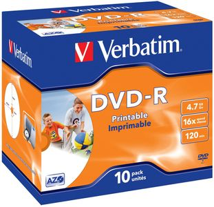 VERBATIM 16x DVD-R 4,7GB Print (Metal AZO) 10-pack Jewel Case (43521)