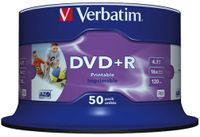 VERBATIM 16x DVD+R disc 4,7GB Wide Print (Advanced AZO) 50-pack Cake Box (43512)