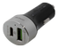 DELTACO car charger with USB-C and Quick Charge 3.0, 6A, silver/ black