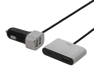 DELTACO car charger with USB-C, USB-A and Quick Charge 3.0, 10,8A, bla (USBC-CAR102)